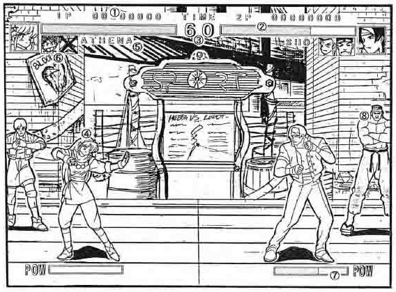 A black and white sketch shows two King of Fighters characters facing one another