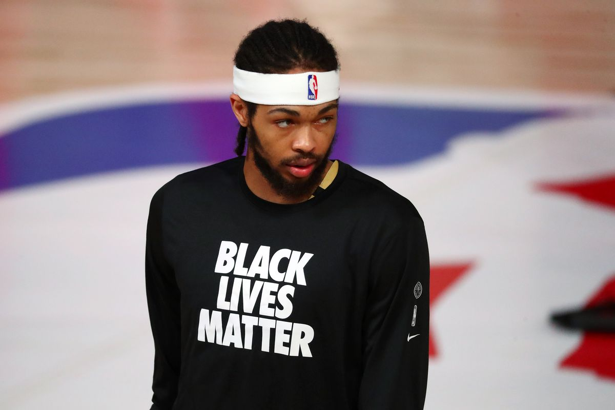 Brandon Ingram of the New Orleans Pelicans looks on before an NBA basketball game against the Washington Wizards at Visa Athletic Center at ESPN Wide World Of Sports Complex on August 7, 2020 in Lake Buena Vista, Florida.