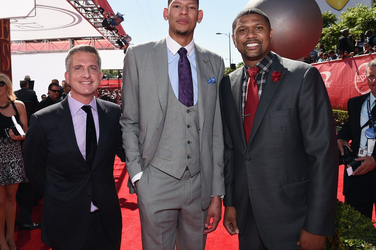 ESPN's Bill Simmons, with College basketball player Isaiah Austin and NBA personality Jalen Rose attend The 2014 ESPYS.