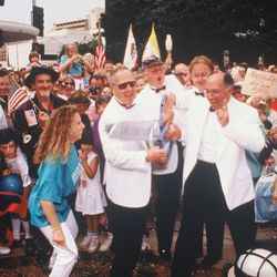 """Former Mayor Denny Zane celebrating opening day on September 16, 1989. He coined this project """"new-urbanist smart growth planning."""""""