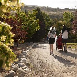 Joe Reardon and Anita Reardon run down a hill with their daughter, JulieLynn Reardon, during the Fairy Tale 5K at Thanksgiving Point in Lehi Saturday, June 21, 2014. In spite of being diagnosed with a severe form of epilepsy, JulieLynn Reardon is on grade level in most subjects.