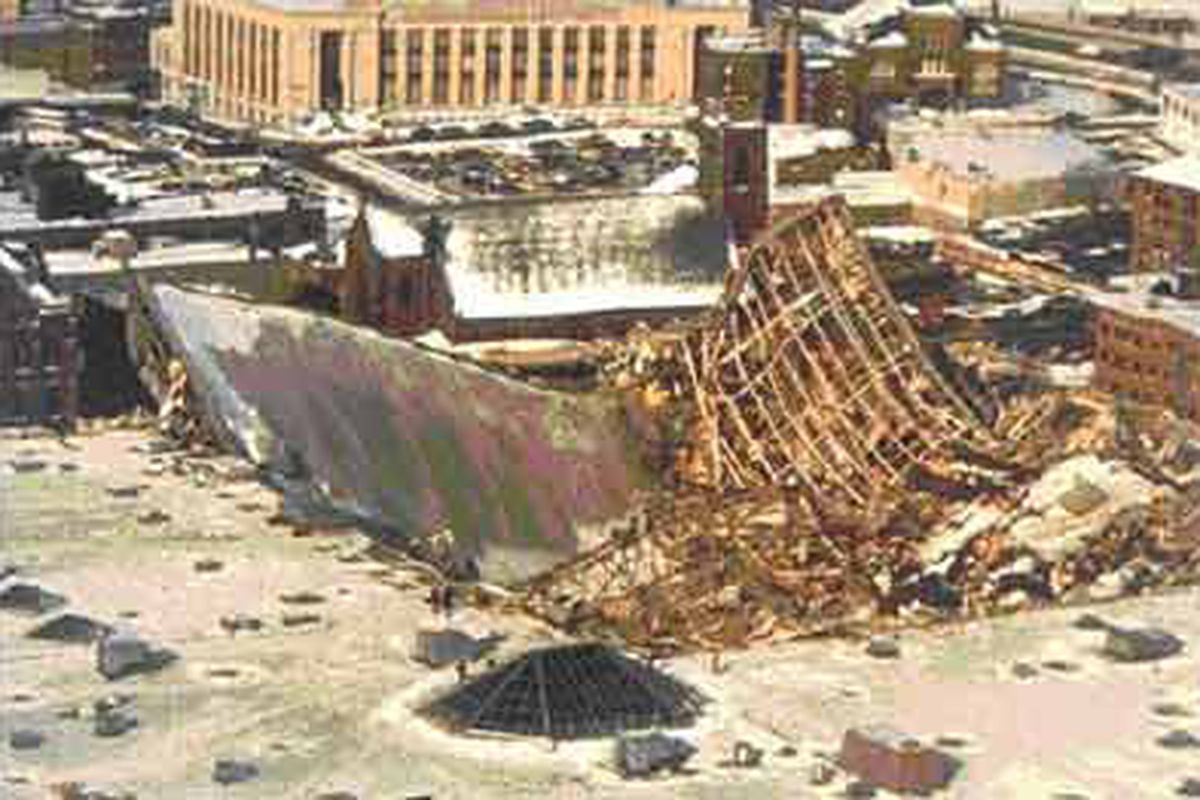 """Once upon a time, the roof of the XL (nee: Hartford Civic) Center collapsed. Unfortunately, they fixed it. via <a href=""""http://terpconnect.umd.edu/~mcliffo1/Images/hartford-collapse.jpg"""">terpconnect.umd.edu</a>"""
