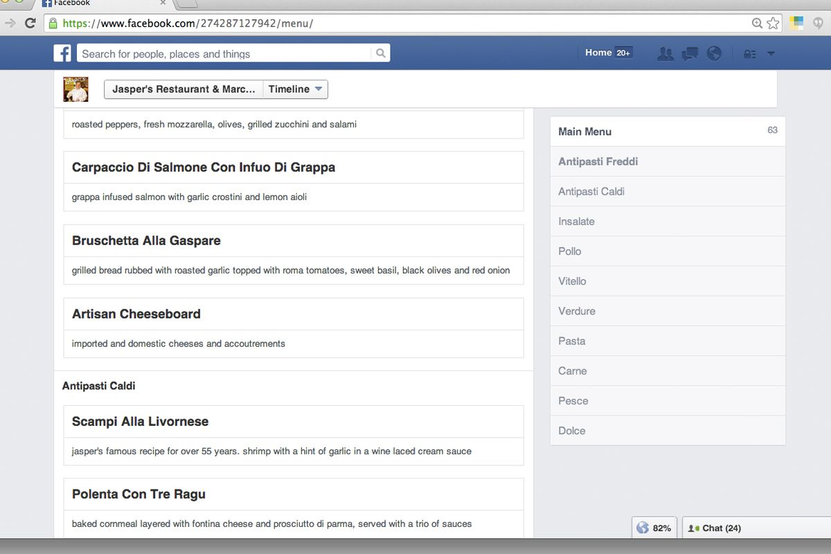 facebook adds menus to restaurant pages eater