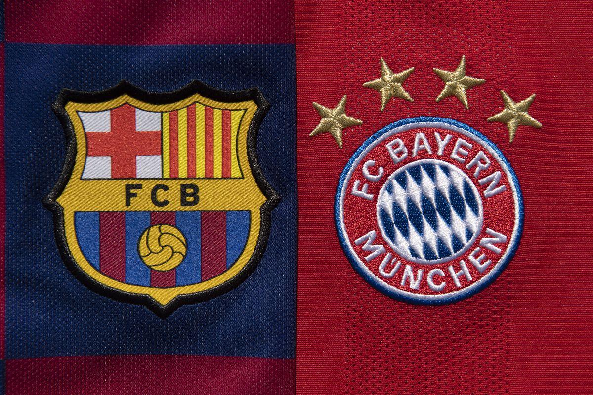 The FC Barcelona and FC Bayern Munich Club Badges