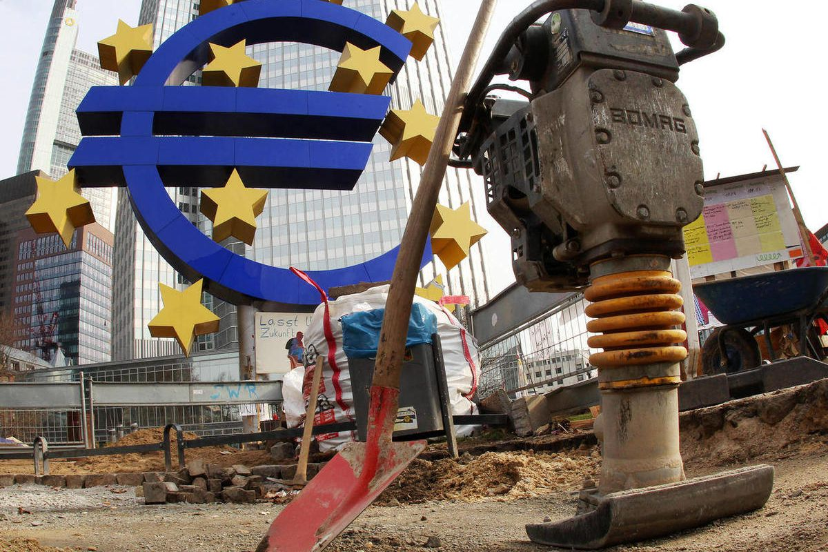 FILE - The March 7, 2012 file photo shows a shovel and a jackhammer stand near the Euro sculpture in front of the European Central Bank in Frankfurt, Germany. Europe is searching for a growth motor. Unemployment and manufacturing figures on Monday, April