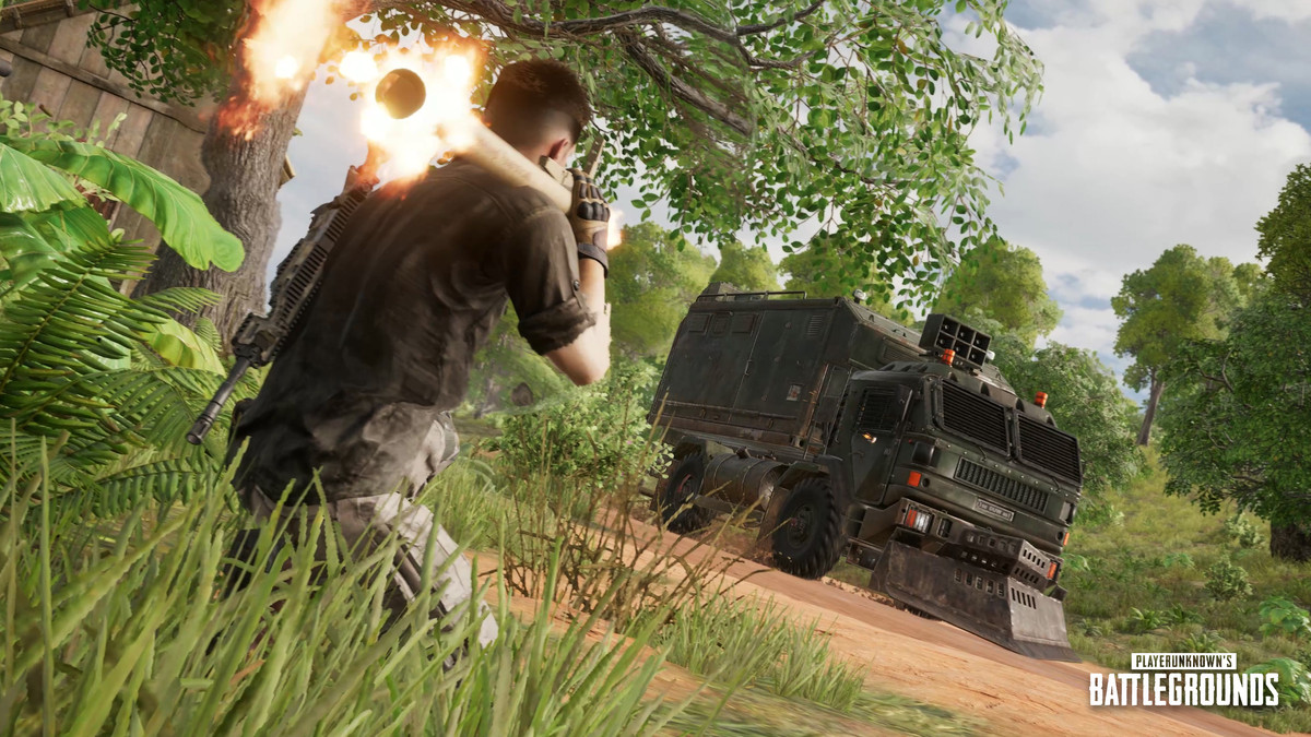 A PUBG player ambushing the Loot Truck on the reworked Sanhok map