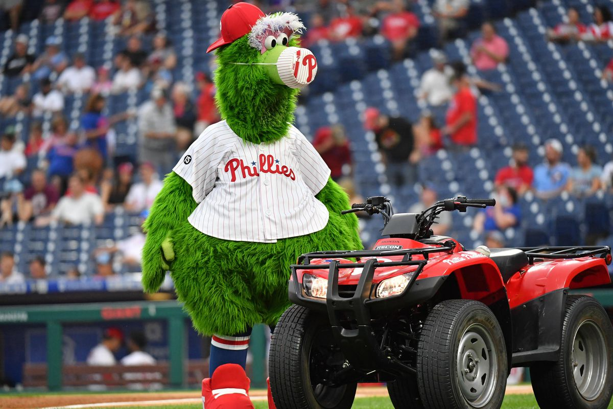 The Philly Phanatic approaches a red ATV, looking menacing. He probably was looking for small children to eat.