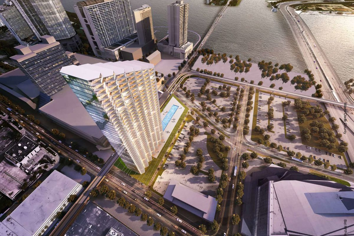Rendering of a mixed-use project planned in downtown Miami