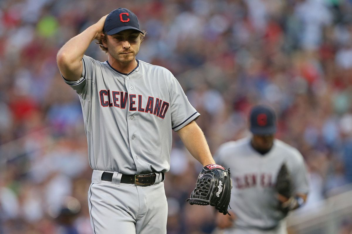 July 27, 2012; Minneapolis, MN, USA: Cleveland Indians starting pitcher Josh Tomlin (43) walks off the field at the end of the fourth inning against the Minnesota Twins at Target Field. Mandatory Credit: Jesse Johnson-US PRESSWIRE