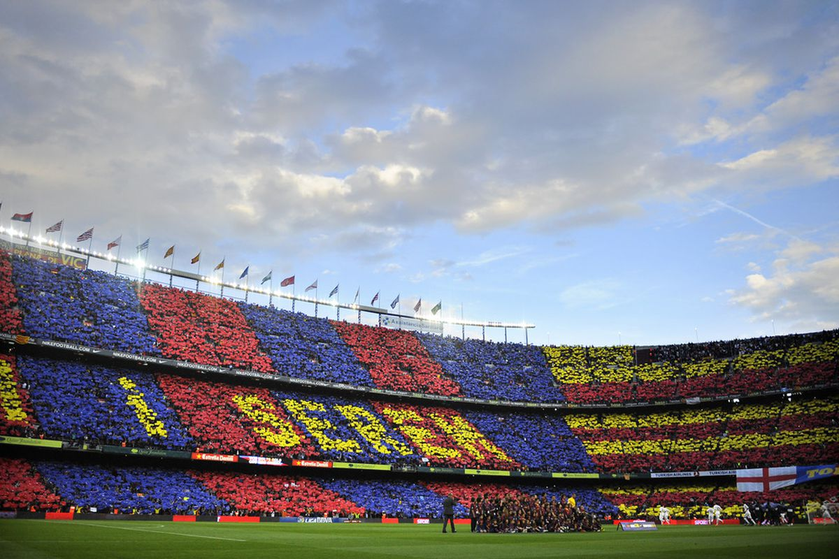 BARCELONA, SPAIN - APRIL 21:  A general view of the camp nou Stadium prior to the La Liga match between FC Barcelona and Real Madrid at Camp Nou on April 21, 2012 in Barcelona, Spain. Real Madrid CF won 1-2.  (Photo by David Ramos/Getty Images)