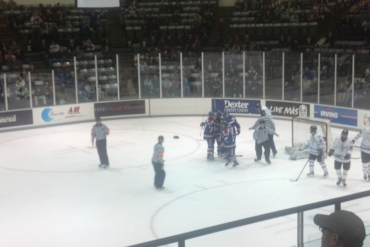 UMass-Lowell celebrates their power play goal in the third period to give the River Hawks a 3-1 lead.
