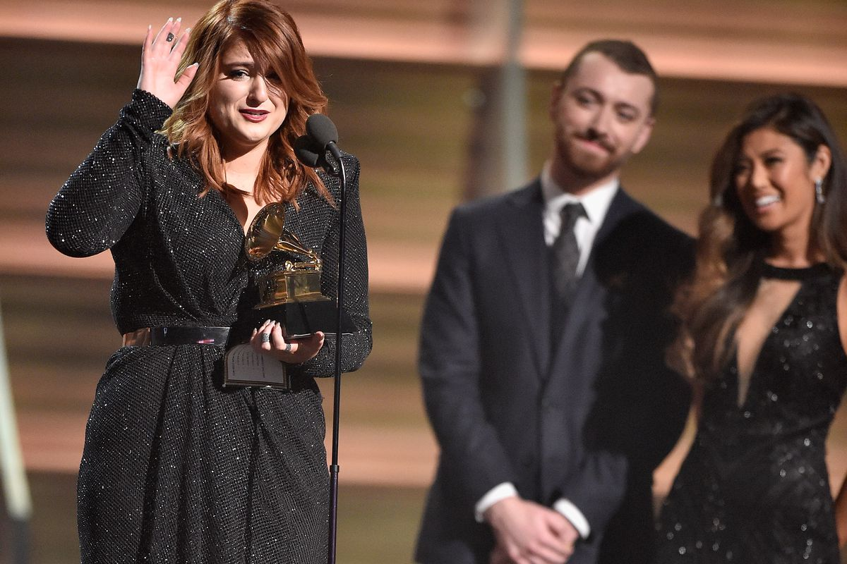 Meghan Trainor accepts the 2016 Grammy for Best New Artist.