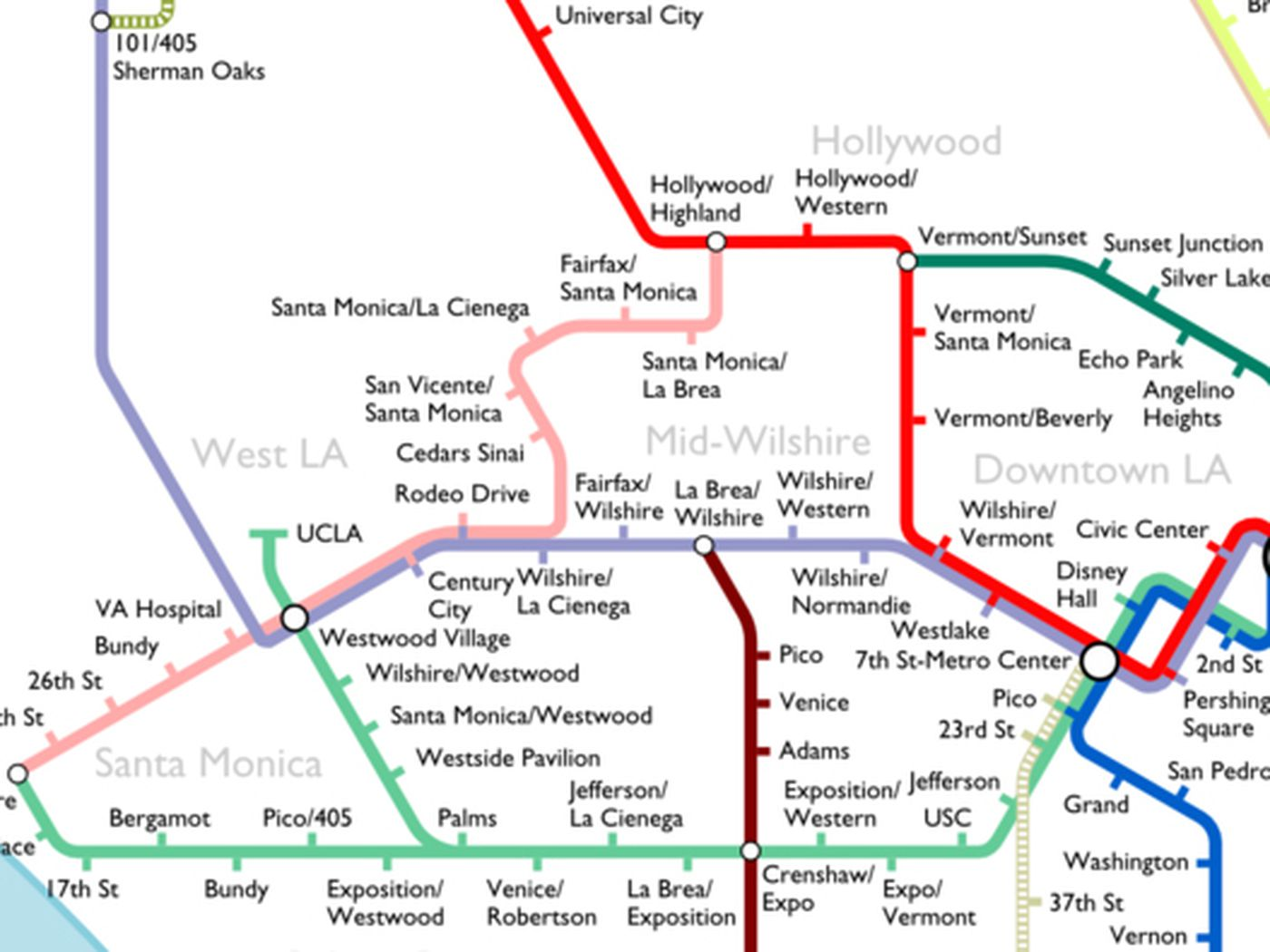 The Most Optimistic Possible LA Metro Rail Map Of  Curbed LA - Los angeles map westwood