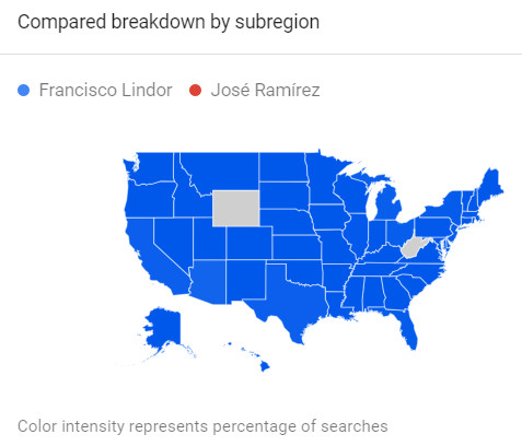 A map of the U.S. showing much higher name recognition nationwide for Lindor than for Ramírez