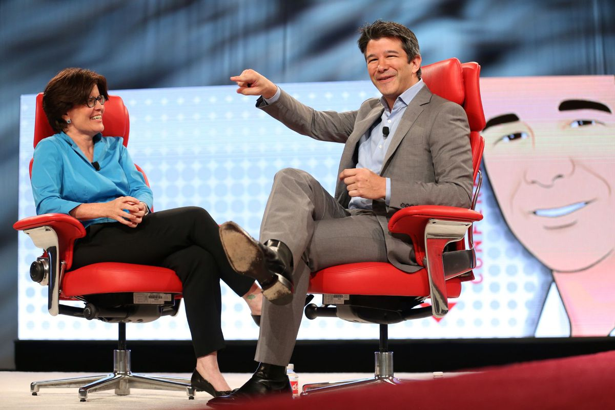 Uber CEO Travis Kalanick onstage with Kara Swisher at the Code conference