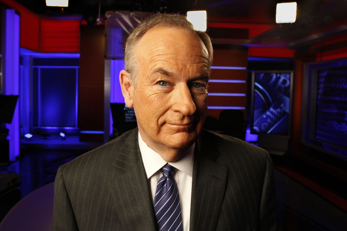 A portrait of Bill O'Reilly on the set of his show