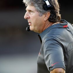 Mike Leach, looking cranky as usual
