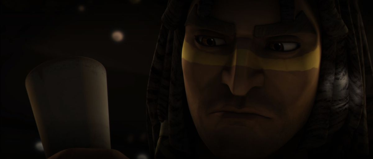 Star Wars' Quinlan Vos hold a cup once used by Ziro the Hutt.