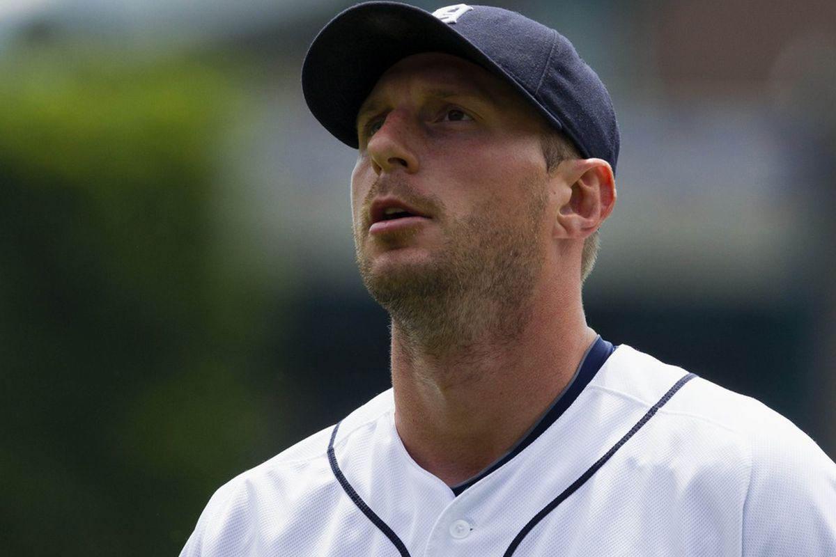 May 20, 2012; Detroit, MI, USA; Detroit Tigers starting pitcher Max Scherzer (37) during the first inning against the Pittsburgh Pirates at Comerica Park. Mandatory Credit: Rick Osentoski-US PRESSWIRE