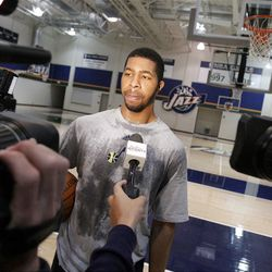 Markieff Morris, Kansas, talks with media after working out for the Jazz in Salt Lake City  Sunday, May 29, 2011. In preparation for the 2011 NBA Draft, the Utah Jazz held pre-draft workouts for six players at Zions Bank Basketball Center.