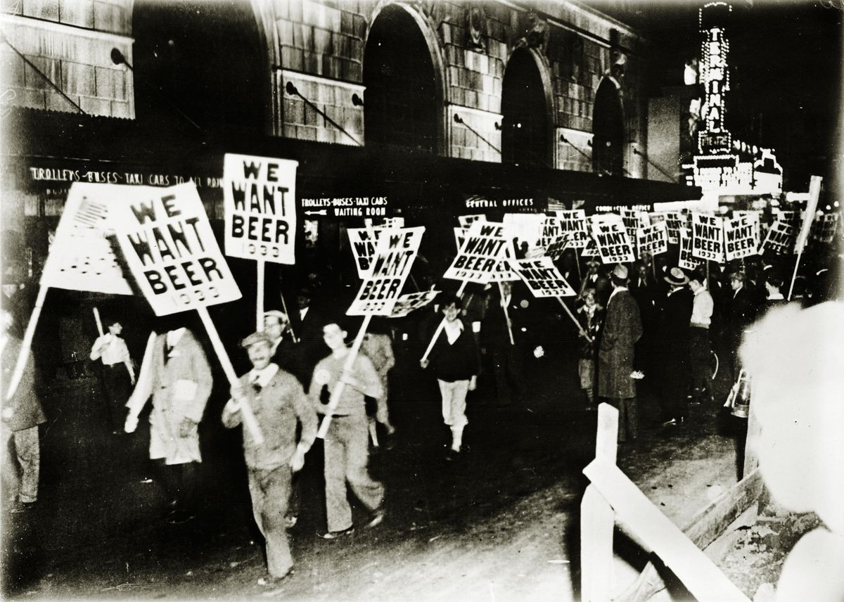 Protesters march in the streets of New York against Prohibition around 1933.