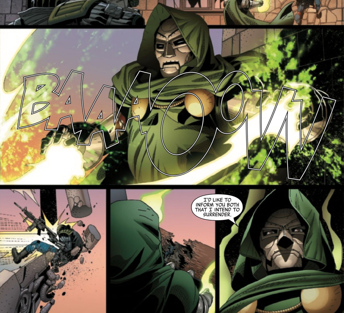 After decisively blasting two assailants off the roof of his castle, Doctor Doom informs them that he intends to surrender, in Doctor Doom #1, Marvel Comics (2019).