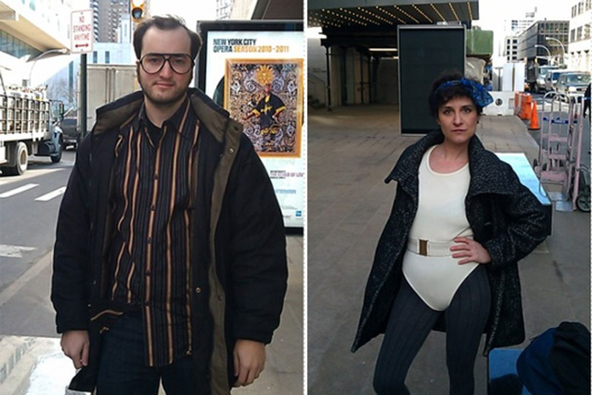 """Hopper and Weiss in their fashion disguises via <a href=""""http://shine.yahoo.com/channel/beauty/is-it-easier-for-a-guy-or-girl-to-crash-fashion-week-we-found-out-2453868/;_ylt=As9osHtLU56r4ZzIk_jjFelhbqU5#photoViewer=4"""">Shine</a>"""