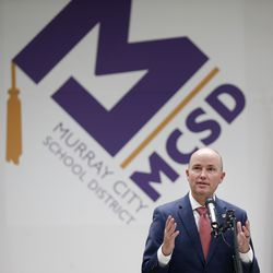 Gov. Spencer Cox speaks at a press conference at the Murray City School District office on Thursday, Jan.14, 2021. The district is the first in the nation to create and launch its own wireless broadband network for students.