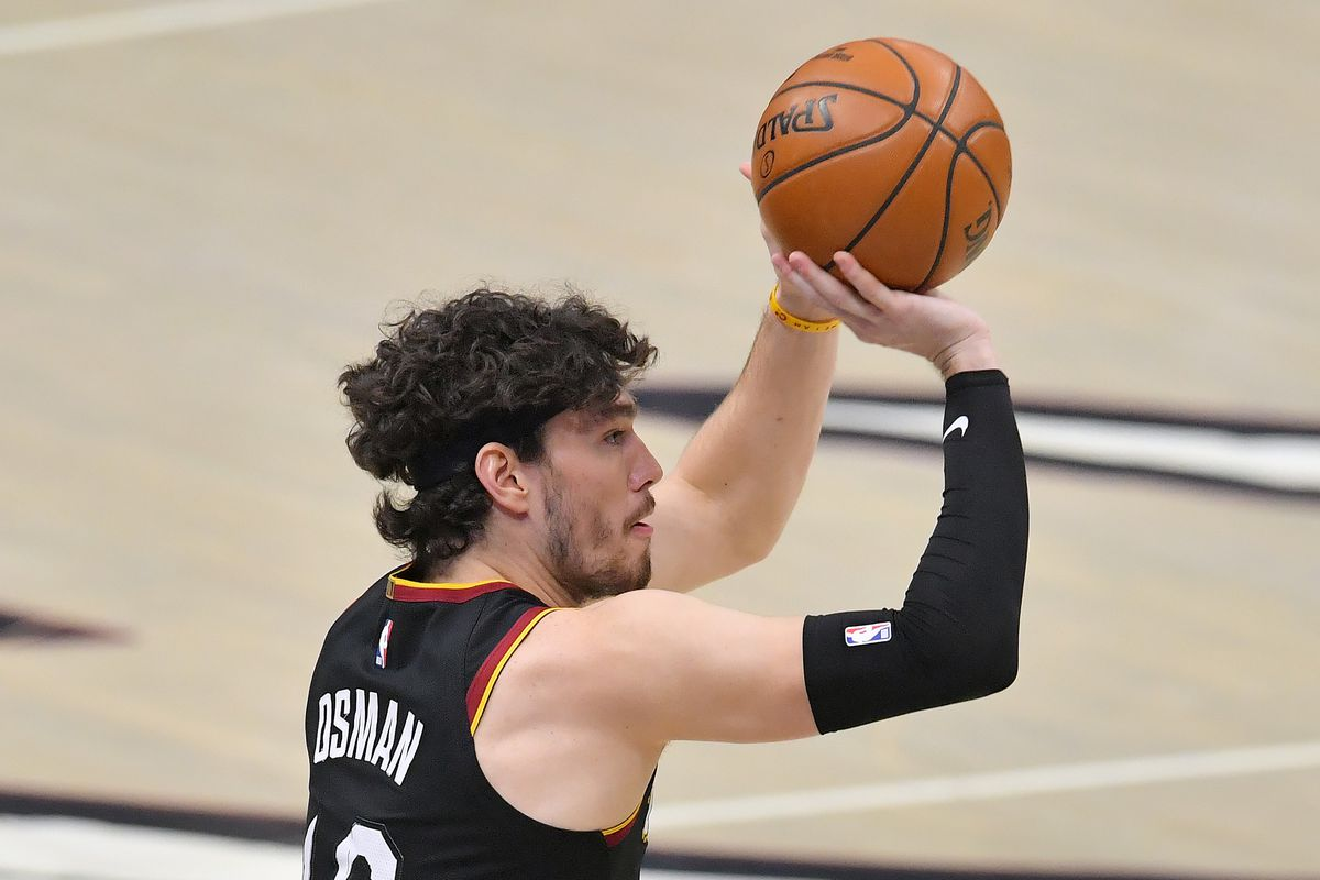 Cedi Osman of the Cleveland Cavaliers shoots a jump shot during the first half against the Denver Nuggets at Rocket Mortgage Fieldhouse on February 19, 2021 in Cleveland, Ohio.