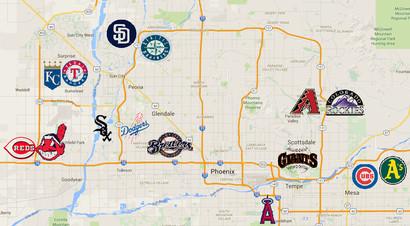 Spring Training Arizona Map A handy map of the Cactus League stadiums   Halos Heaven