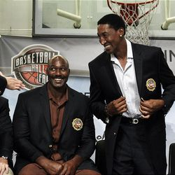 Basketball Hall of Fame inductees Karl Malone, left, and Scottie Pippen react during the enshrinement news conference at the Hall of Fame in Springfield, Mass., on Friday.