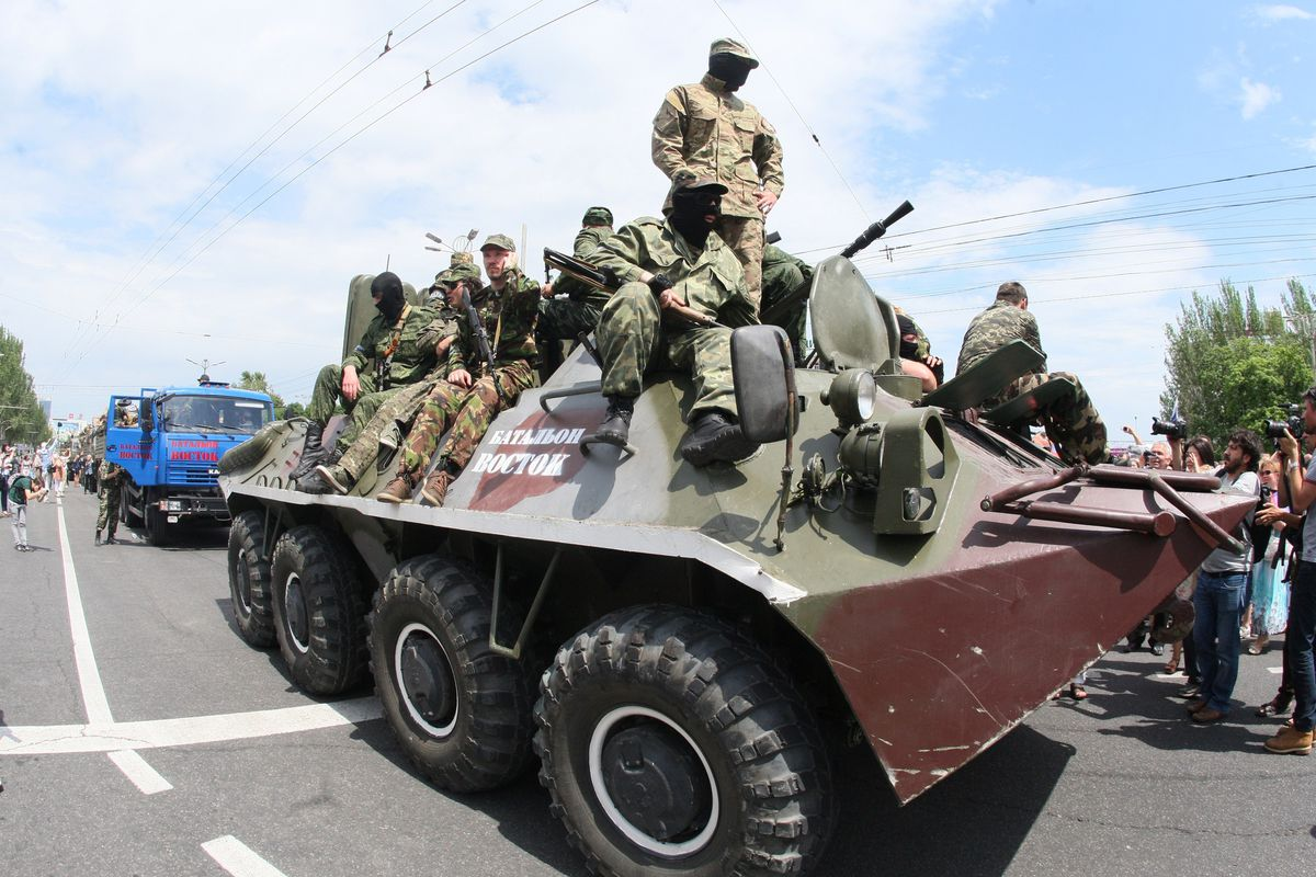 Pro-Russia rebels march in Donetsk
