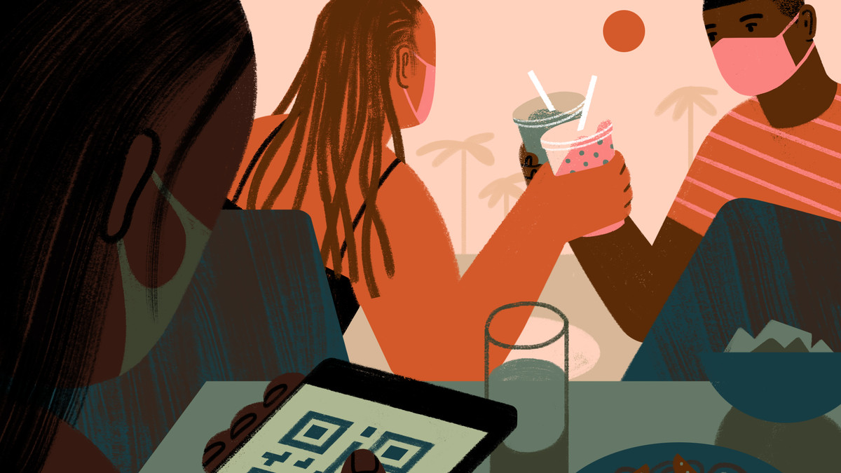 Illustration of two people wearing masks toasting their drinks outdoors; and one woman looking at a QSR code on her phone.