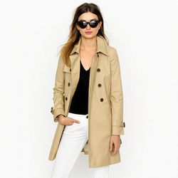 """<a href=""""http://www.jcrew.com/womens_category/outerwear/trenches/PRDOVR~49185/49185.jsp"""">Collection icon trench</a>, $208.60 (was $298)"""