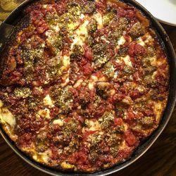 Deep dish pizza at LaBriola Ristorante in Chicago. | Sun-TImes Staff