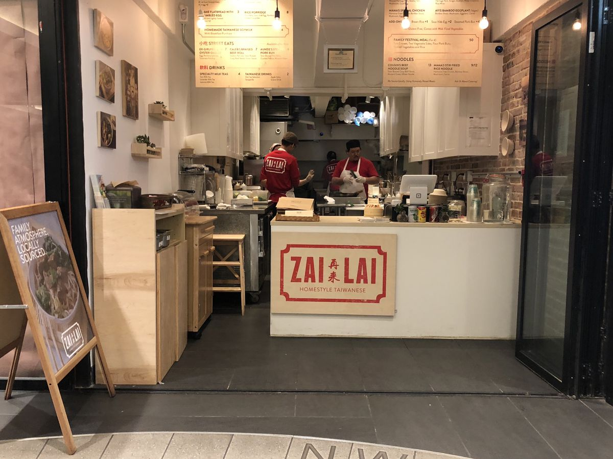The storefront and ordering counter at Zai Lai, inside the Turnstyle Market at Columbus Circle