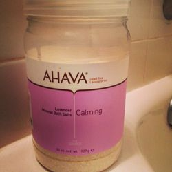"""Every Sunday, I take a long searing hot salt bath. Perfect way to wind down the evening and it relaxes my sore muscles after yoga. Ahhh. <a href=""""http://www.ahavaus.com/lavender-32-oz-bath-salt""""><b>Ahava</b></a>'s lavender bath salts are my favorite. Lave"""