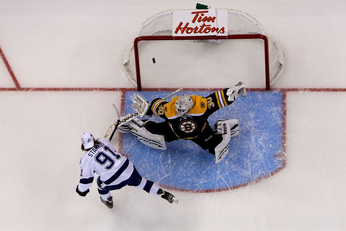 Tim Thomas may be gone, but the Tampa Bay Lightning still have to both shoot on goal and solve a formidable Bruins Goaltender in Tuuku Rask.