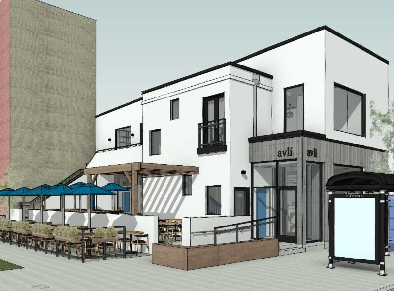A drawing of a restaurant with a patio and blue awnings.