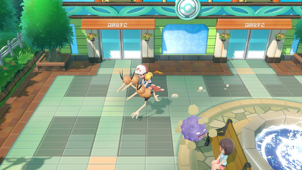A screenshot of a trainer using a Dodrio as a Poké Ride.