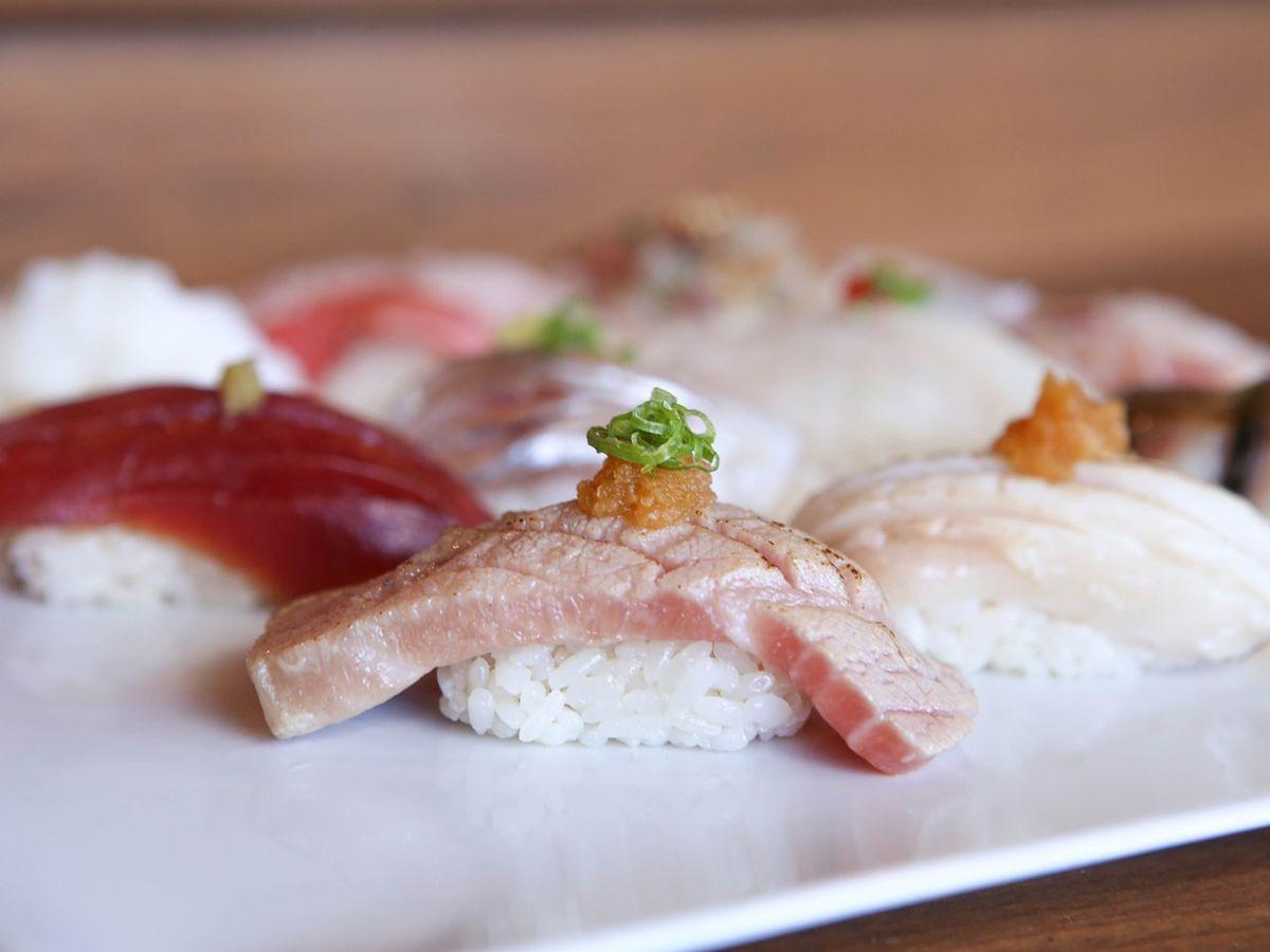 Plate of assorted nigiri.