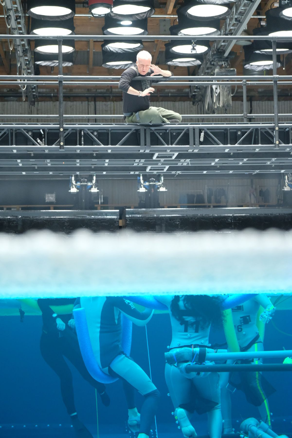 james cameron directs swimming actors wearing noodles in a giant water tank for avatar 2