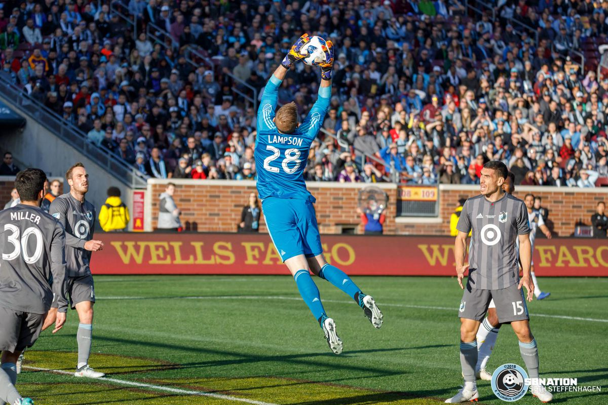 October 21, 2018 - Minneapolis, Minnesota, United States - Minnesota United goalkeeper Matthew Lampson (28) leaps to catch the ball during the match against the LA Galaxy at TCF Bank Stadium.