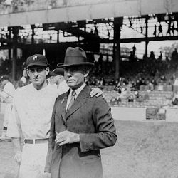 FILE - In this 1924 file photo, Washington Senators owner Clark Griffith, right, is seen with the Senators' Bucky Harris during baseball's World Series. In clinching a playoff spot, the Washington Nationals put the nation's capital in baseball's postseason for the first time in nearly 80 years. The Senators played lost to the New York Giants in the 1933 World Series.