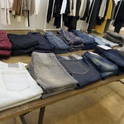 There's One Teaspoon denim for $47, BLK DNM for $97, Rag & Bone jeans for $81 to $124 and up, R+A denim for $413 to $183, and more.