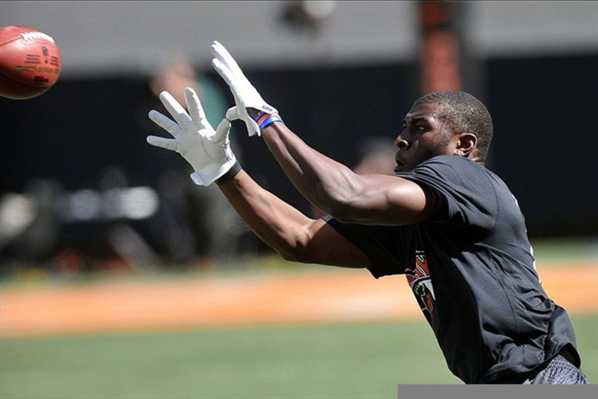 Mar 9, 2012; Stillwater, OK, USA; Oklahoma State Cowboys receiver Justin Blackmon catches a pass during the Oklahoma State pro day at Boone Pickens Stadium. Mark D. Smith-US PRESSWIRE