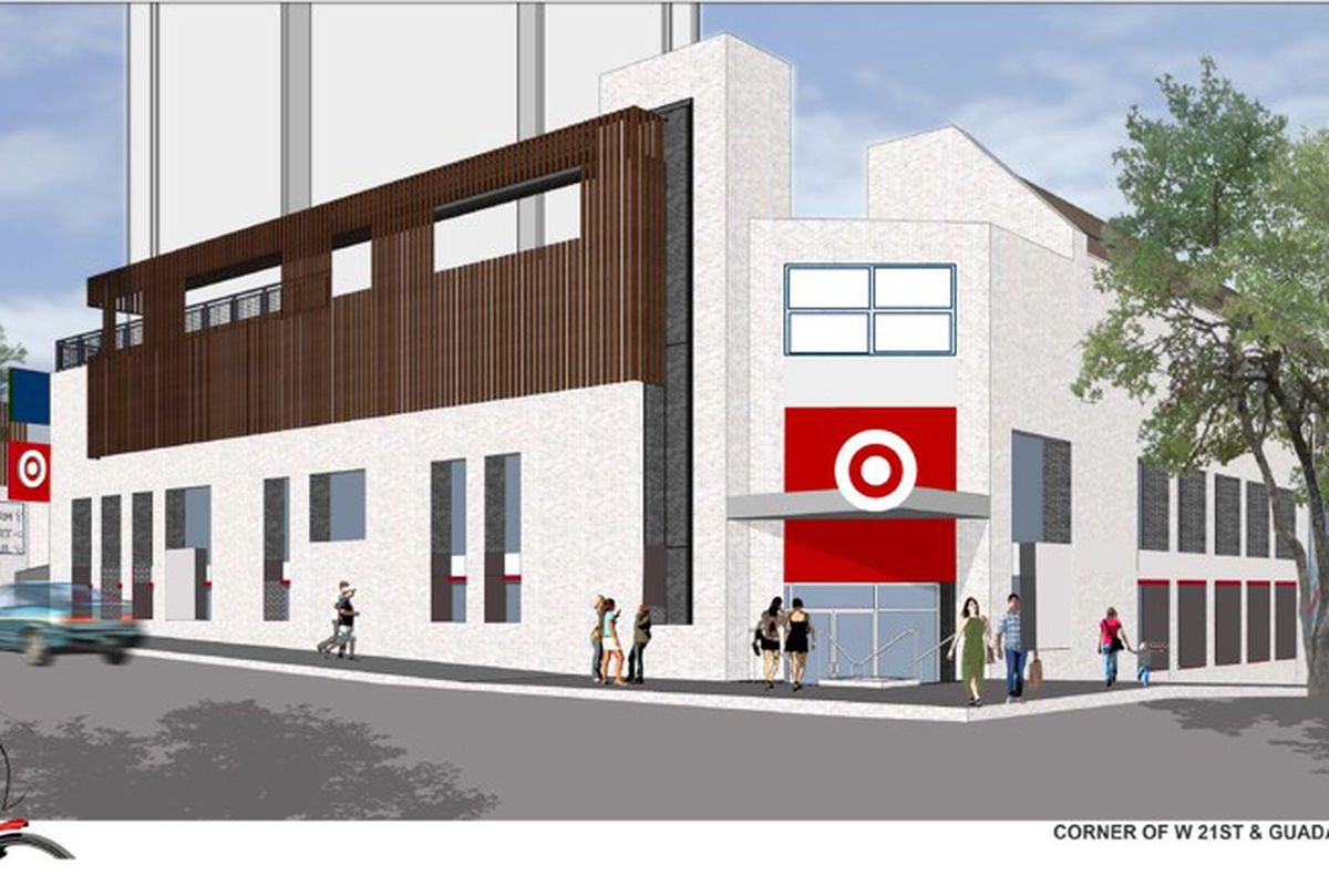 Rendering of a street corner with a Target logo on the entrance of a building