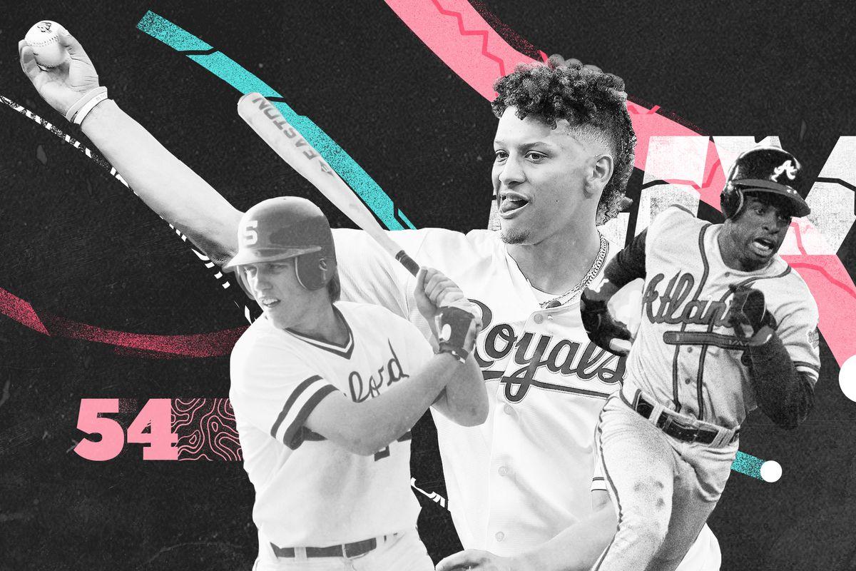An art collage of John Elway, Patrick Mahomes, and Deion Sanders playing baseball