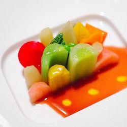 "Seasonal Glazed Vegetable Mosaic ""jus de cuisson,"" lemon oil - Patina, DarinDines"
