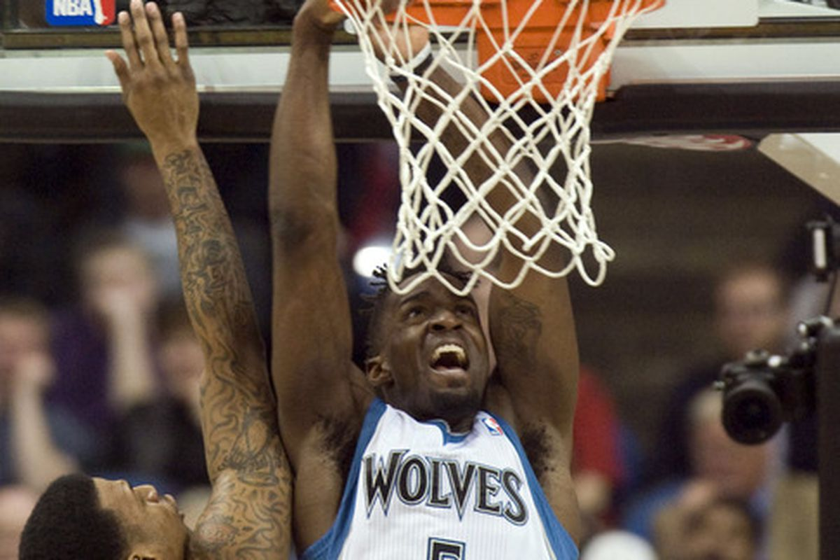 APR 4, 2012; Minneapolis, MN, USA;   Minnesota Timberwolves forward Martell Webster (5) sums up the Wolves' wing play during the David Kahn era.    The Warriors defeat the Wolves 97-94. Mandatory Credit: Marilyn Indahl-US PRESSWIRE